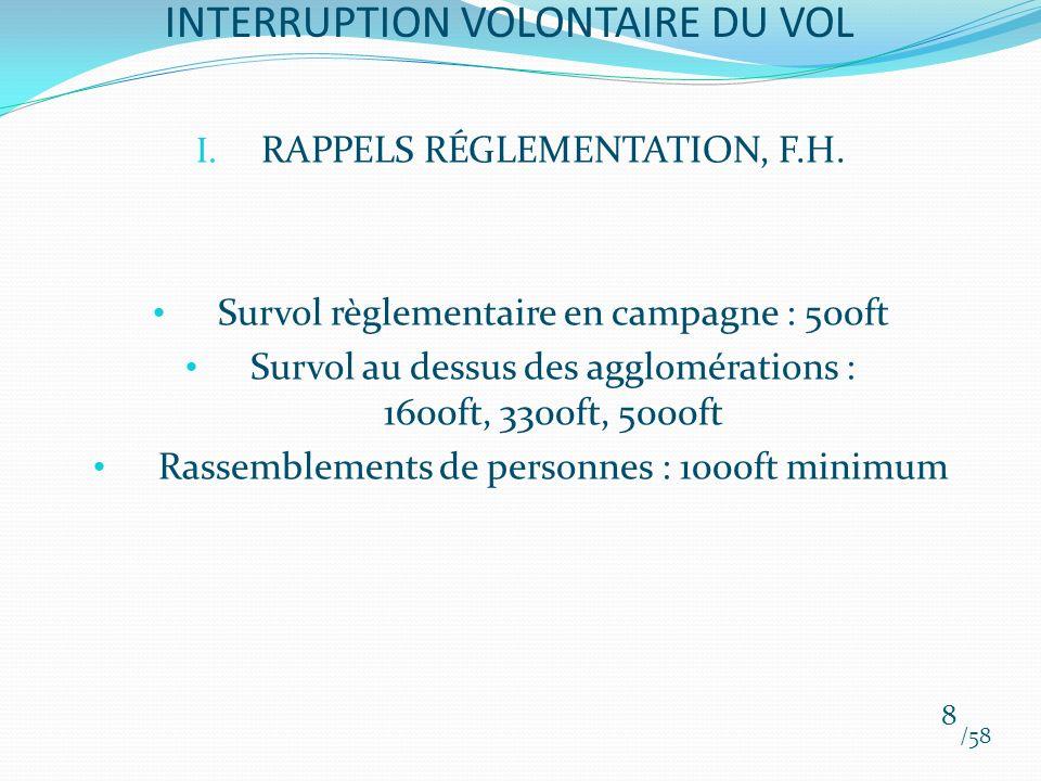 I. RAPPELS RÉGLEMENTATION, F.H. Survol règlementaire en campagne : 500ft Survol au dessus des agglomérations : 1600ft, 3300ft, 5000ft Rassemblements d