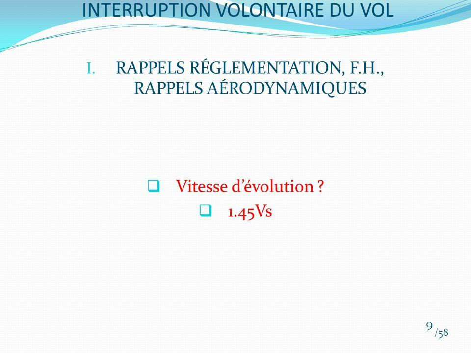 I. RAPPELS RÉGLEMENTATION, F.H., RAPPELS AÉRODYNAMIQUES Vitesse dévolution ? 1.45Vs /58 9 INTERRUPTION VOLONTAIRE DU VOL