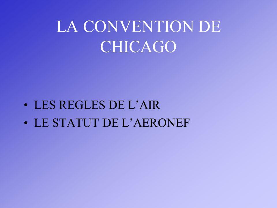 LA CONVENTION DE CHICAGO LES REGLES DE LAIR LE STATUT DE LAERONEF