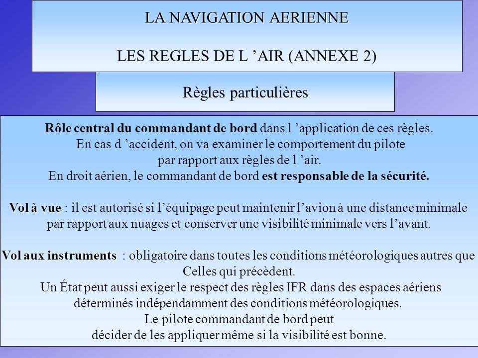 LA NAVIGATION AERIENNE LES REGLES DE L AIR (ANNEXE 2) Rôle central du commandant de bord dans l application de ces règles. En cas d accident, on va ex