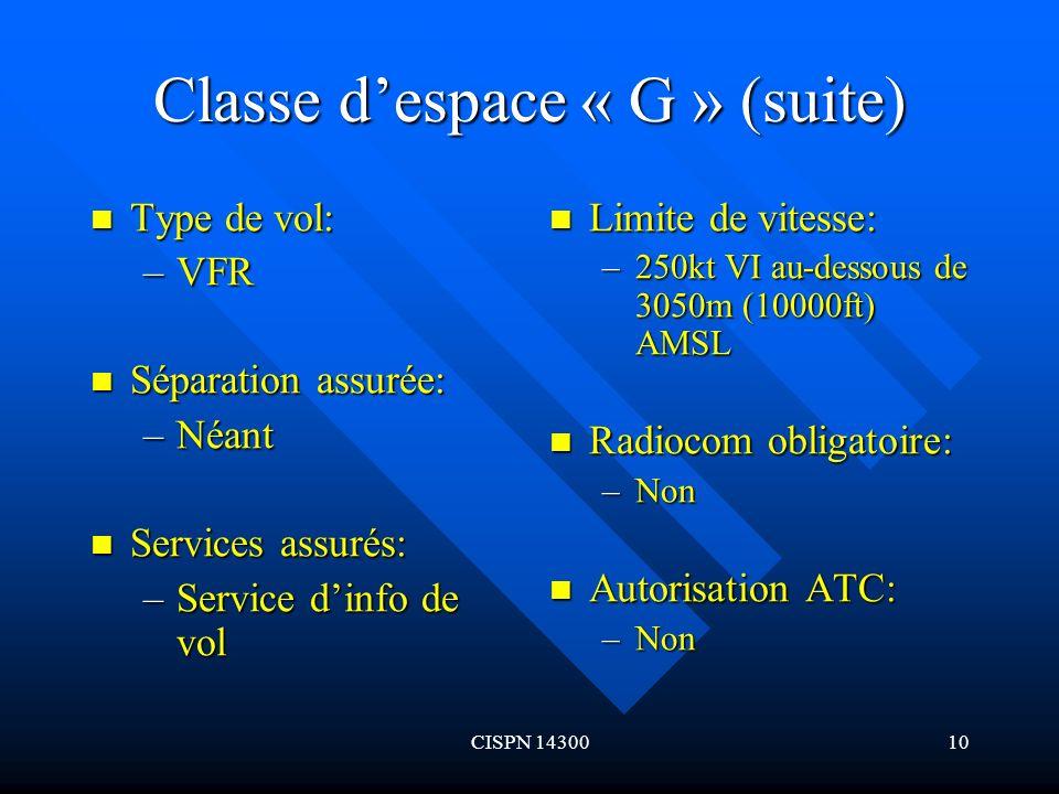 CISPN 1430010 Classe despace « G » (suite) Type de vol: Type de vol: –VFR Séparation assurée: Séparation assurée: –Néant Services assurés: Services as