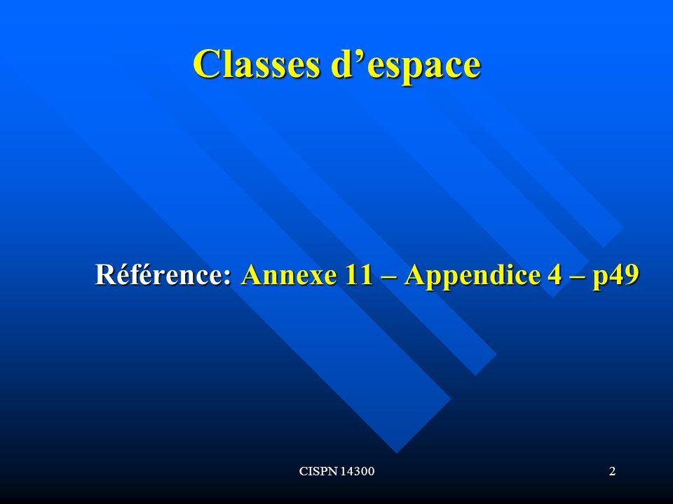 CISPN 143002 Classes despace Référence: Annexe 11 – Appendice 4 – p49 Référence: Annexe 11 – Appendice 4 – p49