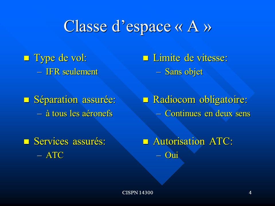 CISPN 143005 Classe despace « D » Type de vol: Type de vol: –IFR Séparation assurée: Séparation assurée: –IFR avec IFR Services assurés: Services assurés: –ATC y compris info.de circulation de vol VFR Limite de vitesse: –250kt au-dessous de 3050m (10000 ft) AMSL Radiocom obligatoire: –Continues en deux sens Autorisation ATC: –Oui