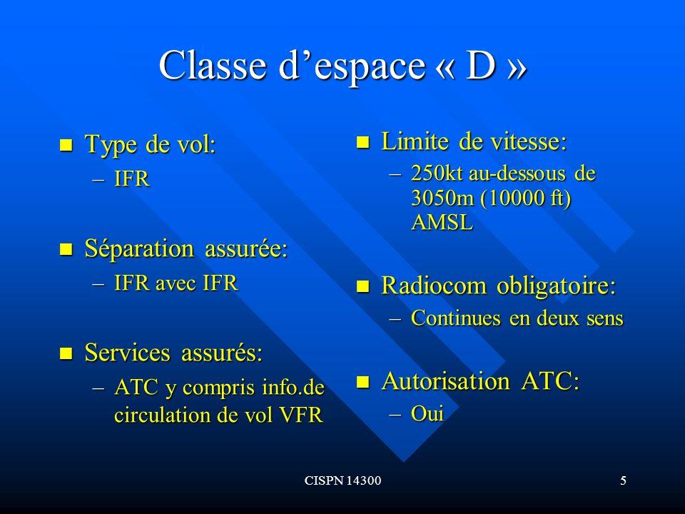 CISPN 143006 Classe despace « D » (suite) Type de vol: Type de vol: –VFR Séparation assurée: Séparation assurée: –Néant Services assurés: Services assurés: –Info.