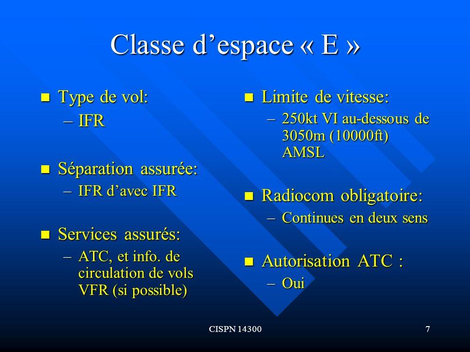 CISPN 143008 Classe despace « E » (suite) Type de vol: Type de vol: –VFR Séparation assurée: Séparation assurée: –Néant Services assurés: Services assurés: –Info.