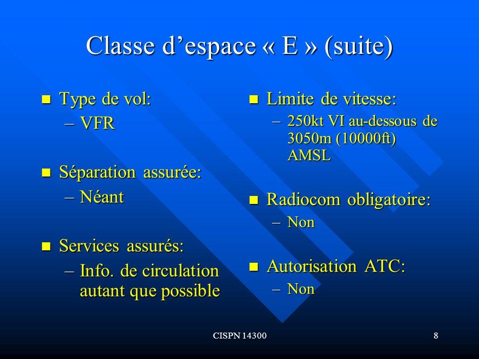 CISPN 143009 Classe despace « G » Type de vol: Type de vol: –IFR Séparation assurée: Séparation assurée: –Néant Services assurés: Services assurés: –Service dinfo de vol Limite de vitese: –250kt VI au- dessous de 3050m (10000ft) AMSL Radiocom obligatoire: –Continues en deux sens Autorisation ATC: –Non