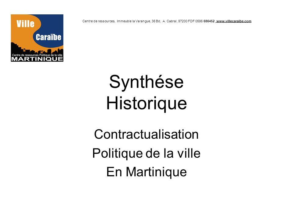Synthése Historique Contractualisation Politique de la ville En Martinique Centre de ressources, Immeuble la Varangue, 36 Bd, A. Cabral, 97200 FDF 059