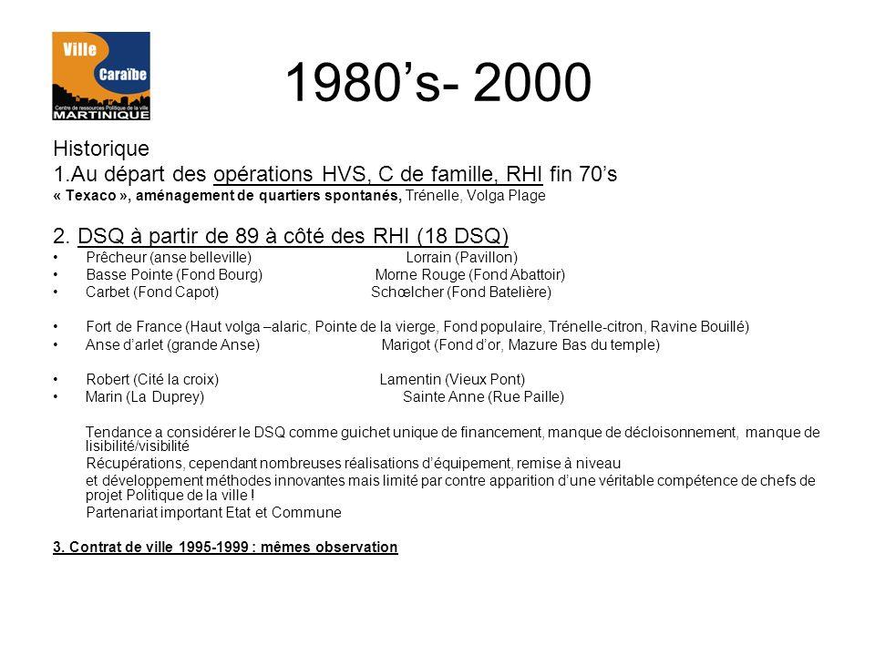 1980s- 2000 Historique 1.Au départ des opérations HVS, C de famille, RHI fin 70s « Texaco », aménagement de quartiers spontanés, Trénelle, Volga Plage 2.
