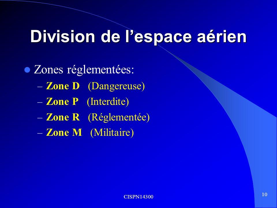 CISPN14300 10 Division de lespace aérien Zones réglementées: – Zone D (Dangereuse) – Zone P (Interdite) – Zone R (Réglementée) – Zone M (Militaire)