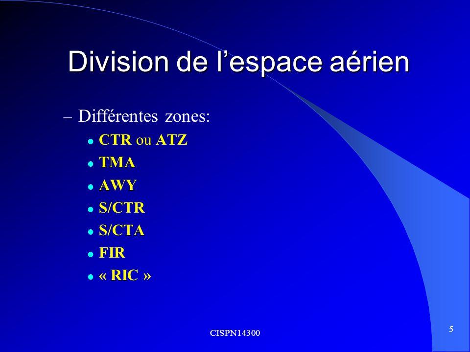 CISPN14300 6 Division de lespace aérien Division de lespace aérien Définitions : – CTR: espace aérien contrôlé sétendant verticalement à partir de la surface jusquà une limite supérieure spécifiée.
