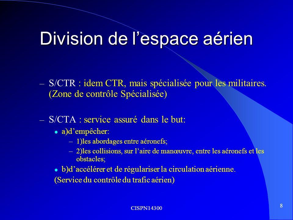 CISPN14300 8 Division de lespace aérien – S/CTR : idem CTR, mais spécialisée pour les militaires. (Zone de contrôle Spécialisée) – S/CTA : service ass