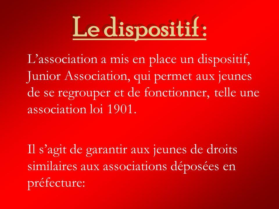 Le dispositif : Lassociation a mis en place un dispositif, Junior Association, qui permet aux jeunes de se regrouper et de fonctionner, telle une association loi 1901.