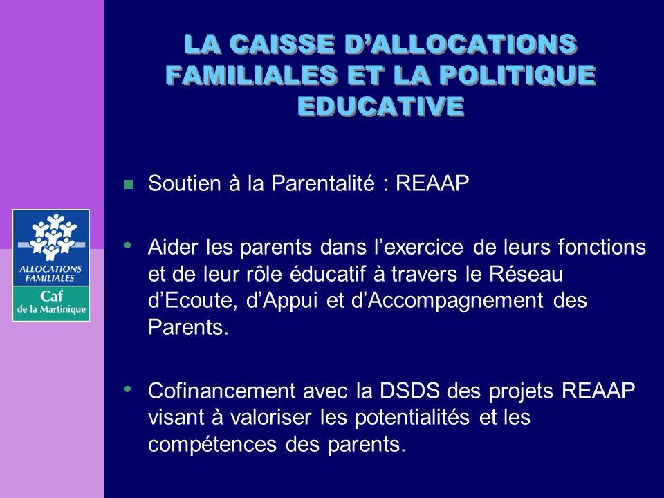 LA CAISSE DALLOCATIONS FAMILIALES ET LA POLITIQUE EDUCATIVE n Soutien à la Parentalité : REAAP Aider les parents dans lexercice de leurs fonctions et