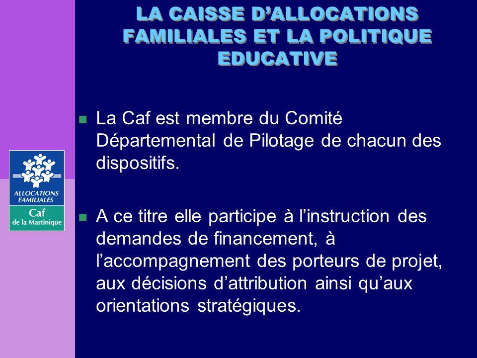 n La Caf est membre du Comité Départemental de Pilotage de chacun des dispositifs. n A ce titre elle participe à linstruction des demandes de financem