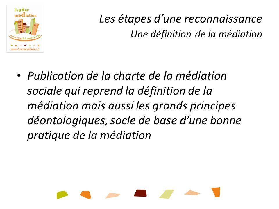 Les étapes dune reconnaissance Une définition de la médiation Publication de la charte de la médiation sociale qui reprend la définition de la médiation mais aussi les grands principes déontologiques, socle de base dune bonne pratique de la médiation