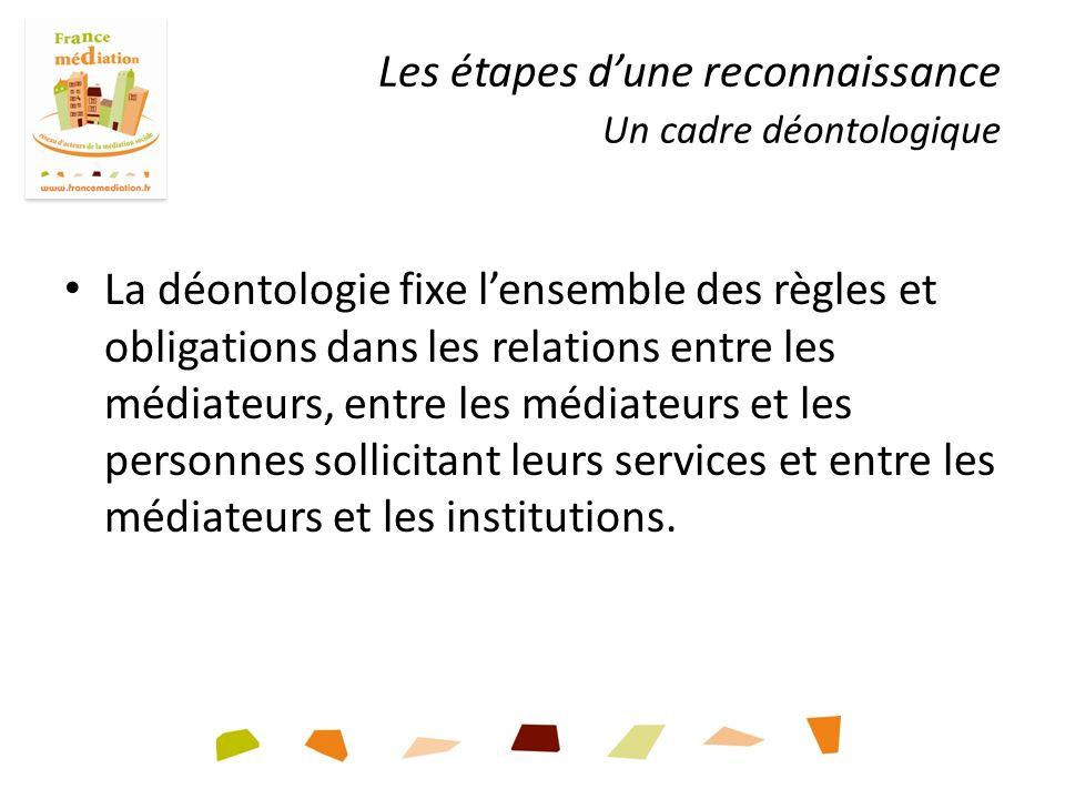 Les étapes dune reconnaissance Un cadre déontologique La déontologie fixe lensemble des règles et obligations dans les relations entre les médiateurs, entre les médiateurs et les personnes sollicitant leurs services et entre les médiateurs et les institutions.