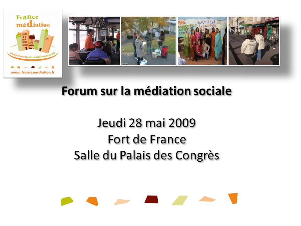 Forum sur la médiation sociale Jeudi 28 mai 2009 Fort de France Salle du Palais des Congrès