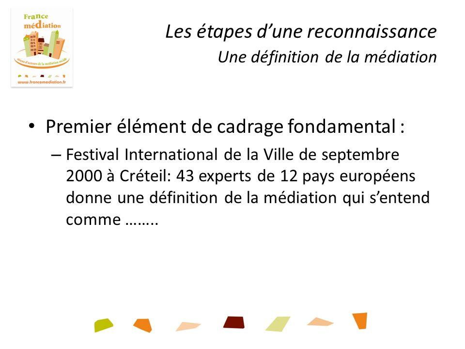 Premier élément de cadrage fondamental : – Festival International de la Ville de septembre 2000 à Créteil: 43 experts de 12 pays européens donne une définition de la médiation qui sentend comme ……..