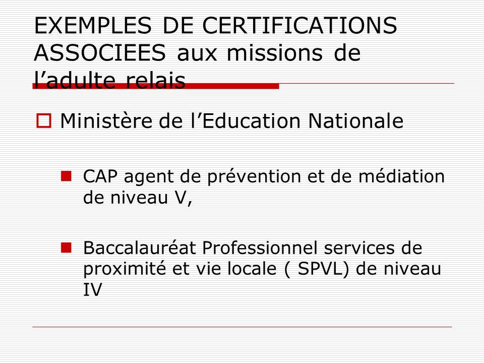 EXEMPLES DE CERTIFICATIONS ASSOCIEES aux missions de ladulte relais Ministère de lEducation Nationale CAP agent de prévention et de médiation de niveau V, Baccalauréat Professionnel services de proximité et vie locale ( SPVL) de niveau IV
