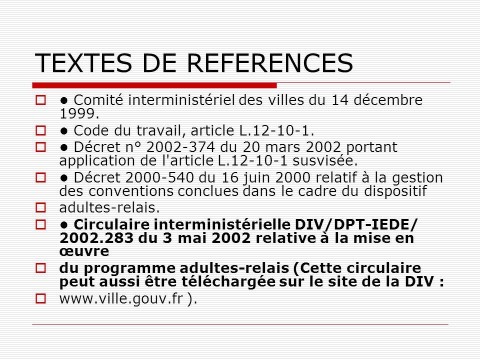 TEXTES DE REFERENCES Comité interministériel des villes du 14 décembre 1999.