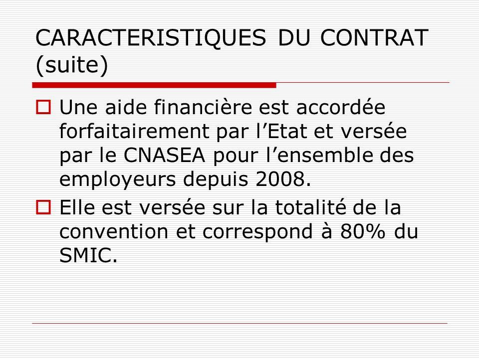CARACTERISTIQUES DU CONTRAT (suite) Une aide financière est accordée forfaitairement par lEtat et versée par le CNASEA pour lensemble des employeurs depuis 2008.