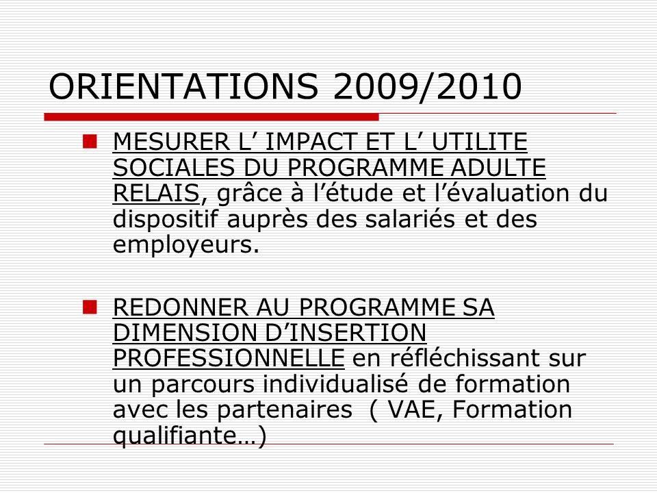 ORIENTATIONS 2009/2010 MESURER L IMPACT ET L UTILITE SOCIALES DU PROGRAMME ADULTE RELAIS, grâce à létude et lévaluation du dispositif auprès des salariés et des employeurs.