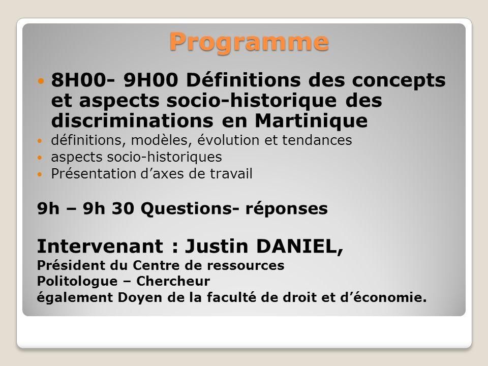 Programme 8H00- 9H00 Définitions des concepts et aspects socio-historique des discriminations en Martinique définitions, modèles, évolution et tendanc
