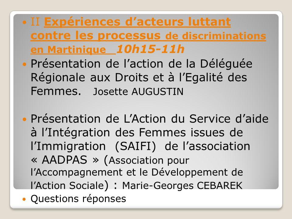 II Expériences dacteurs luttant contre les processus de discriminations en Martinique 10h15-11h Présentation de laction de la Déléguée Régionale aux Droits et à lEgalité des Femmes.
