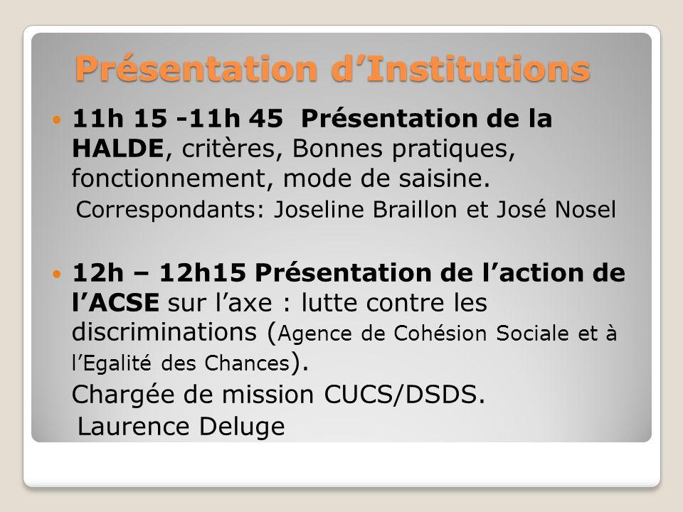 Présentation dInstitutions Présentation dInstitutions 11h 15 -11h 45 Présentation de la HALDE, critères, Bonnes pratiques, fonctionnement, mode de saisine.