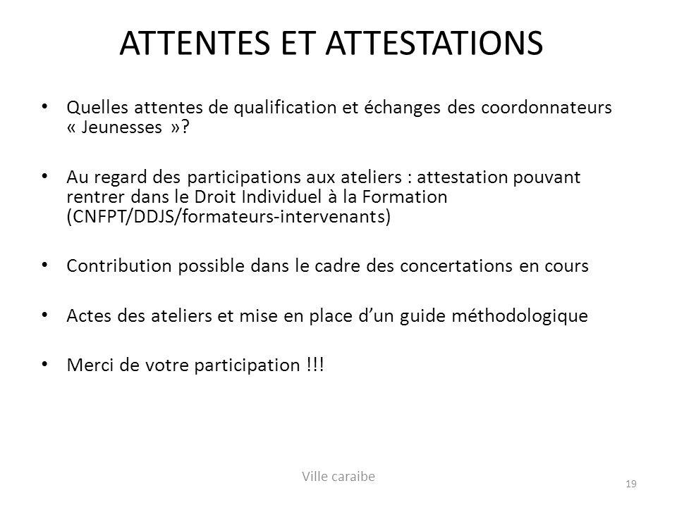 ATTENTES ET ATTESTATIONS Quelles attentes de qualification et échanges des coordonnateurs « Jeunesses ».