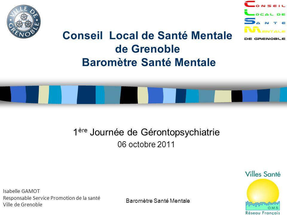 Baromètre Santé Mentale1 Conseil Local de Santé Mentale de Grenoble Baromètre Santé Mentale 1 ère Journée de Gérontopsychiatrie 06 octobre 2011 Isabel