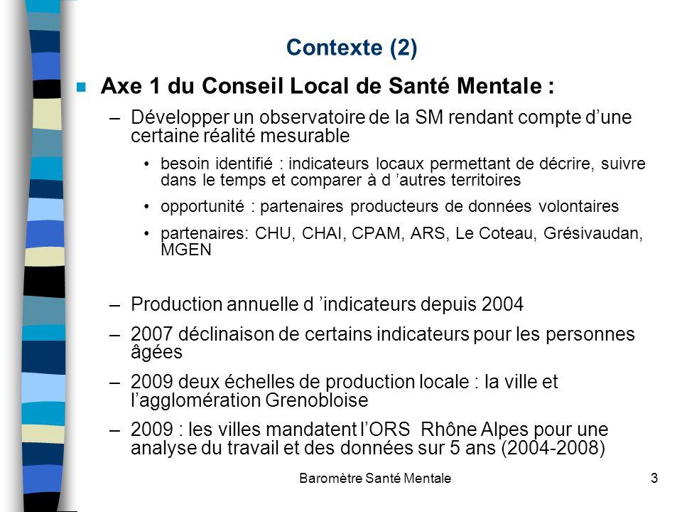 Baromètre Santé Mentale3 Contexte (2) n Axe 1 du Conseil Local de Santé Mentale : –Développer un observatoire de la SM rendant compte dune certaine ré