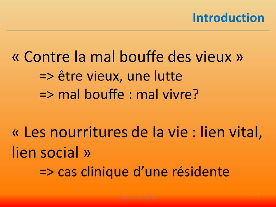 1 / Tranche dune vie en institution : Mme LULU 2 / Enjeu vital et social 3 / Regards sur lindividuel et le collectif Conclusion Plan Graziella MARION3