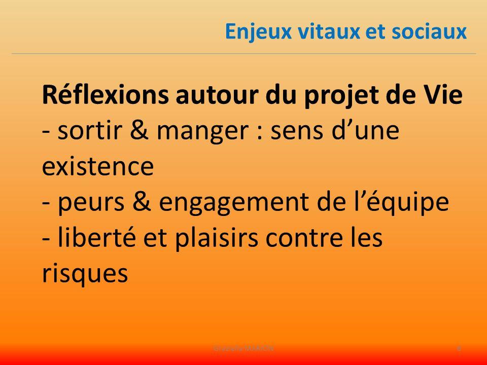 Réflexions autour du projet de Vie - sortir & manger : sens dune existence - peurs & engagement de léquipe - liberté et plaisirs contre les risques Enjeux vitaux et sociaux Graziella MARION6