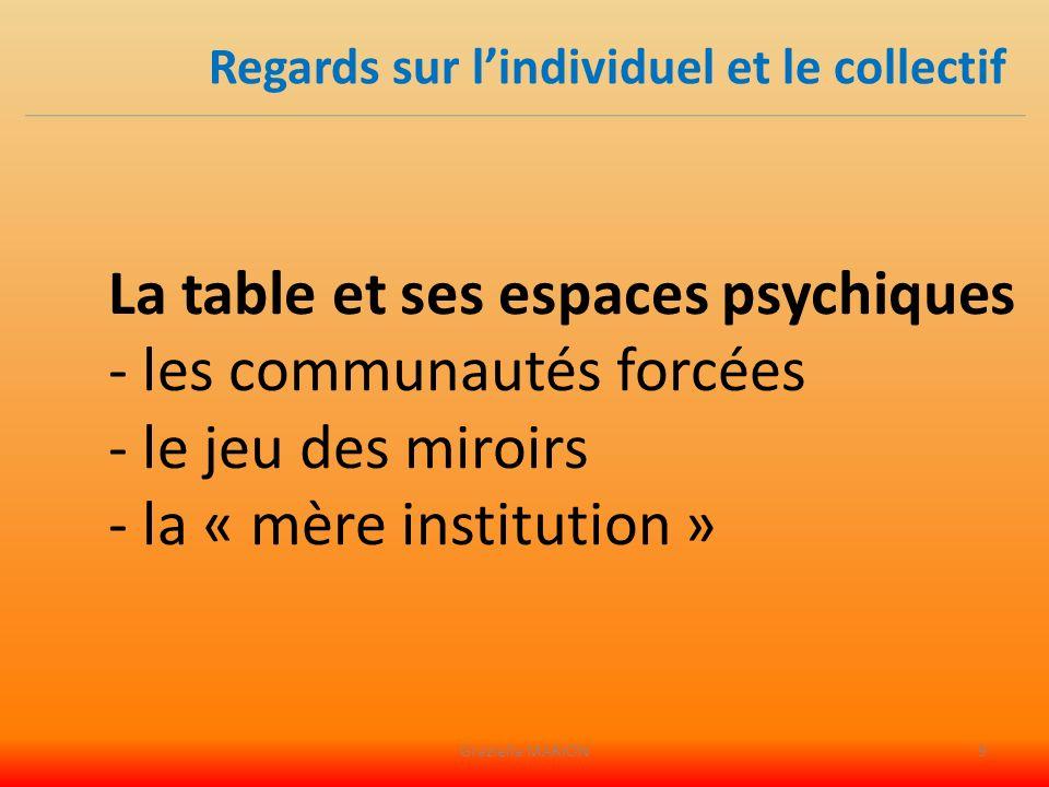 La table et ses espaces psychiques - les communautés forcées - le jeu des miroirs - la « mère institution » Regards sur lindividuel et le collectif Graziella MARION9