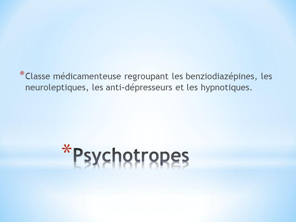 * Classe médicamenteuse regroupant les benziodiazépines, les neuroleptiques, les anti-dépresseurs et les hypnotiques.