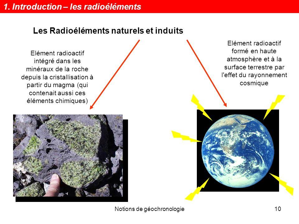 Notions de géochronologie10 Les Radioéléments naturels et induits Elément radioactif intégré dans les minéraux de la roche depuis la cristallisation à