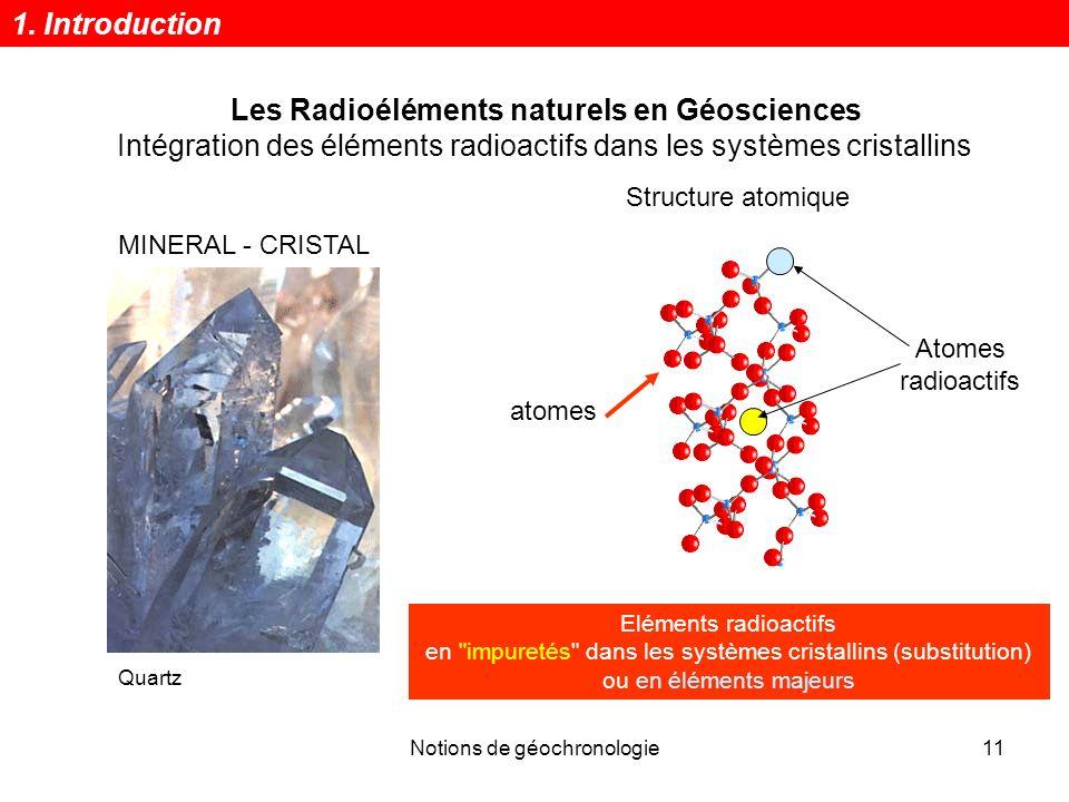Notions de géochronologie11 Les Radioéléments naturels en Géosciences Intégration des éléments radioactifs dans les systèmes cristallins Quartz MINERA