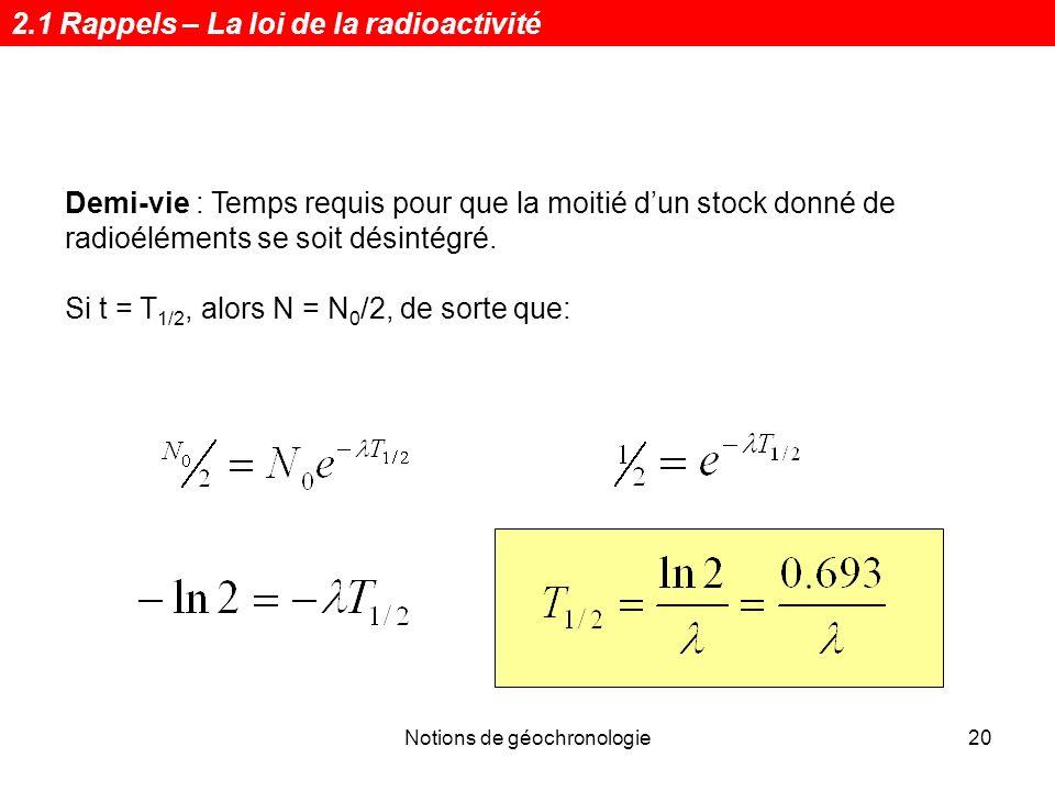 Notions de géochronologie20 Demi-vie : Temps requis pour que la moitié dun stock donné de radioéléments se soit désintégré. Si t = T 1/2, alors N = N