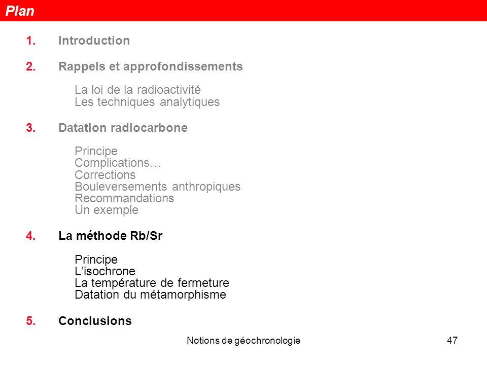 Notions de géochronologie47 1.Introduction 2.Rappels et approfondissements La loi de la radioactivité Les techniques analytiques 3.Datation radiocarbo