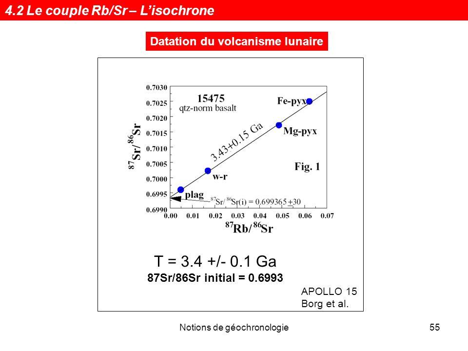 Notions de géochronologie55 Datation du volcanisme lunaire APOLLO 15 Borg et al. T = 3.4 +/- 0.1 Ga 87Sr/86Sr initial = 0.6993 4.2 Le couple Rb/Sr – L