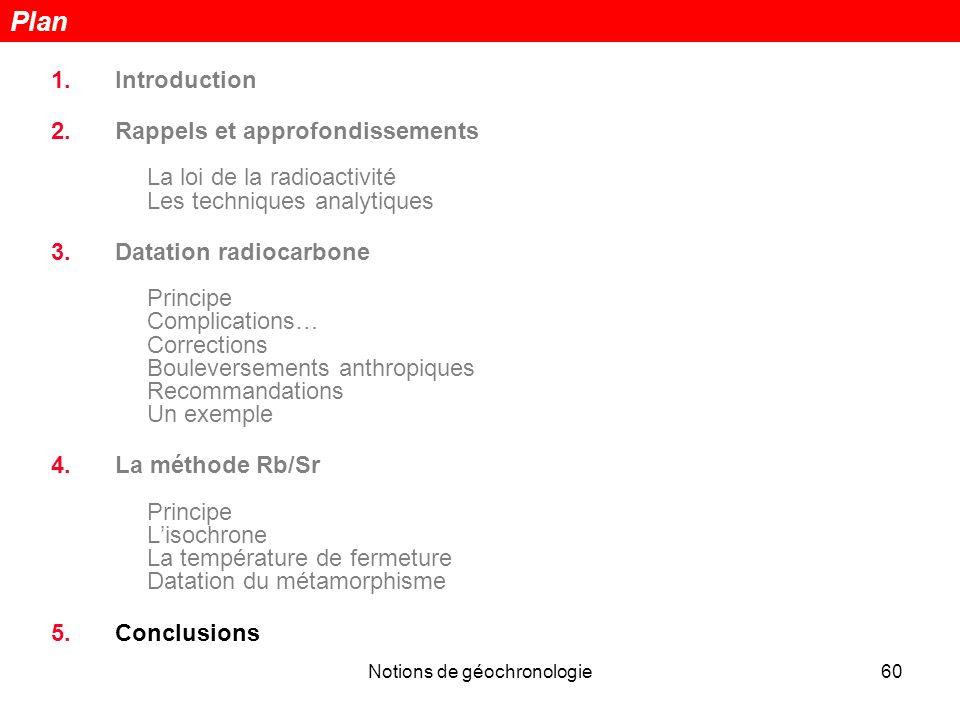 Notions de géochronologie60 1.Introduction 2.Rappels et approfondissements La loi de la radioactivité Les techniques analytiques 3.Datation radiocarbo