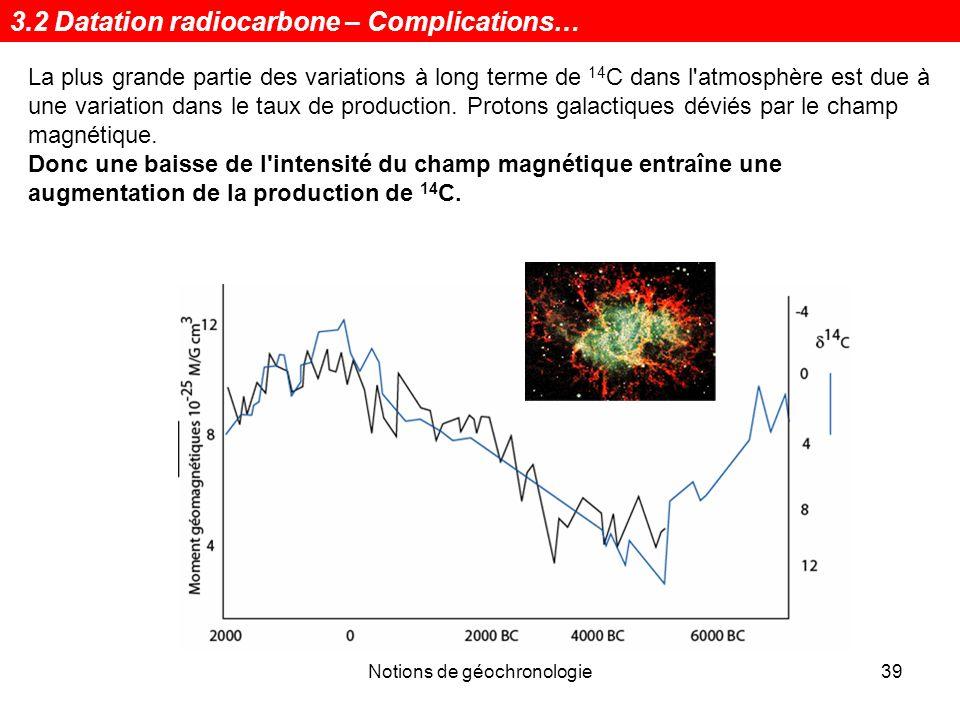 Notions de géochronologie40 Correction des dates radiocarbone Plusieurs types de matériaux, datables par la méthode du radiocarbone, peuvent aussi être datés, indépendamment, parfois à lannée près, par: 1.