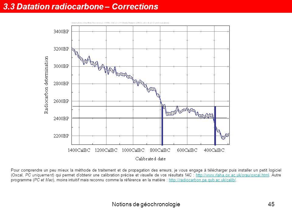 Notions de géochronologie46 Lâge 14 C conventionnel [Stuiver & Pollach (1977)] implique : - une demi-vie (valeur de Libby) de 5568±30 ans, - une normalisation du d 13 C à -25 pour mille et - 0 BP pour le 1.