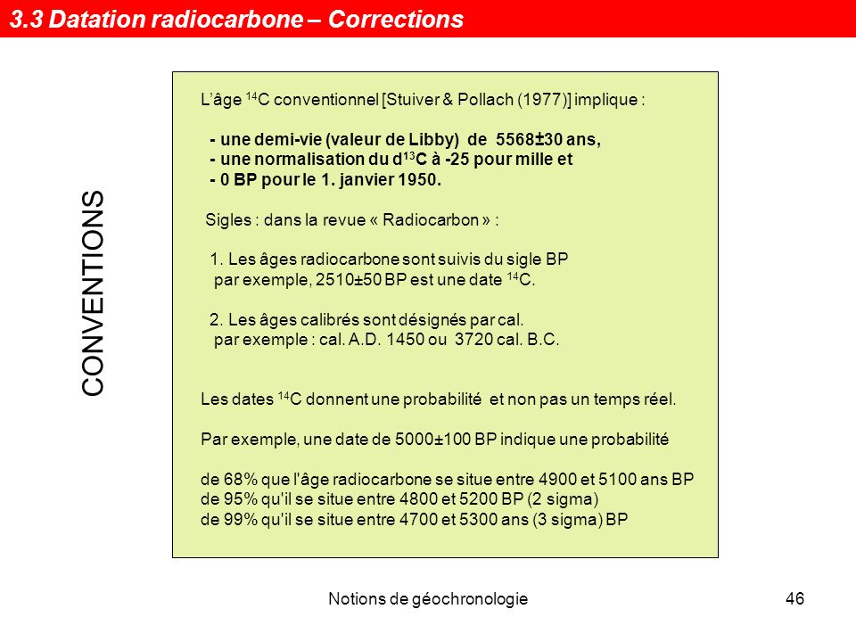 Notions de géochronologie47 Un exemple de rapport danalyse 3.3 Datation radiocarbone – Corrections
