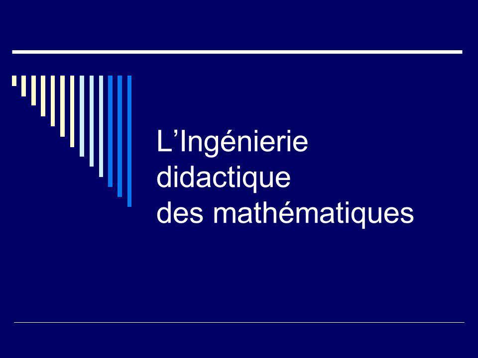 Lingénierie didactique est : lindispensable instrument de confrontation de la science didactique avec la contingence Linstrument et lobjet des observations le moyen de mise en œuvre et de diffusion de ses résultats vers les enseignants et le public Par là elle est le cœur de la didactique