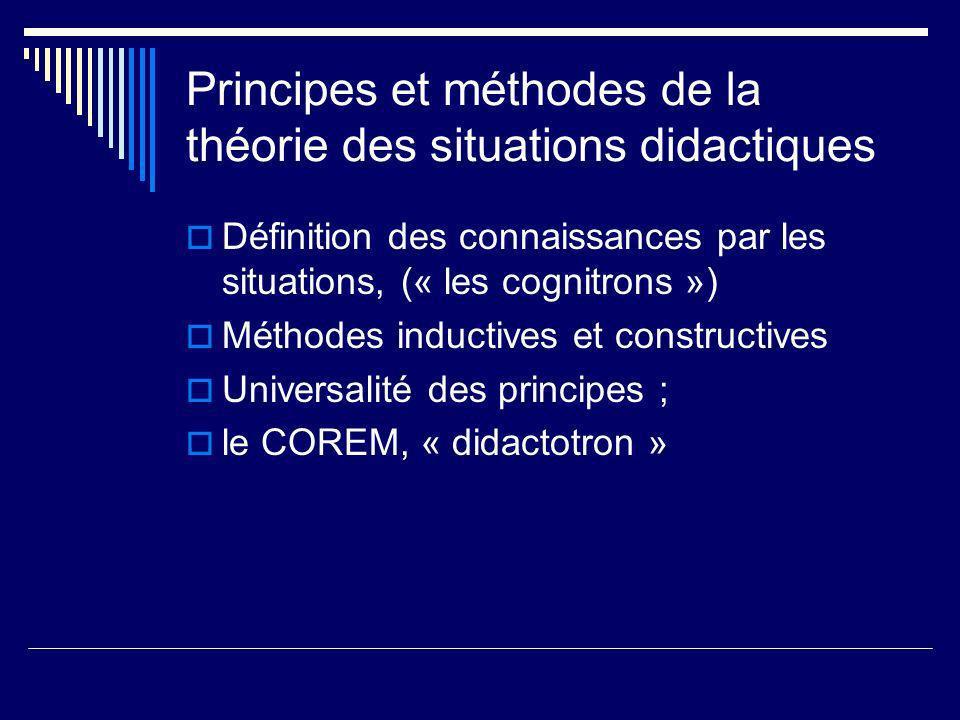 Principes et méthodes de la théorie des situations didactiques Définition des connaissances par les situations, (« les cognitrons ») Méthodes inductiv