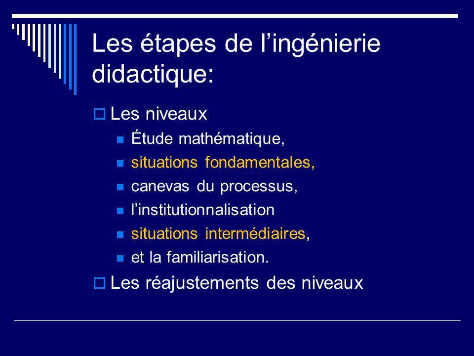Les étapes de lingénierie didactique: Les niveaux Étude mathématique, situations fondamentales, canevas du processus, linstitutionnalisation situation