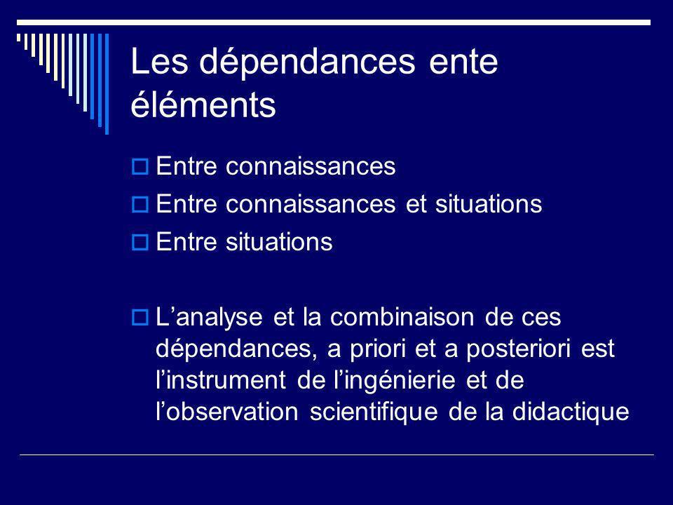 Les dépendances ente éléments Entre connaissances Entre connaissances et situations Entre situations Lanalyse et la combinaison de ces dépendances, a