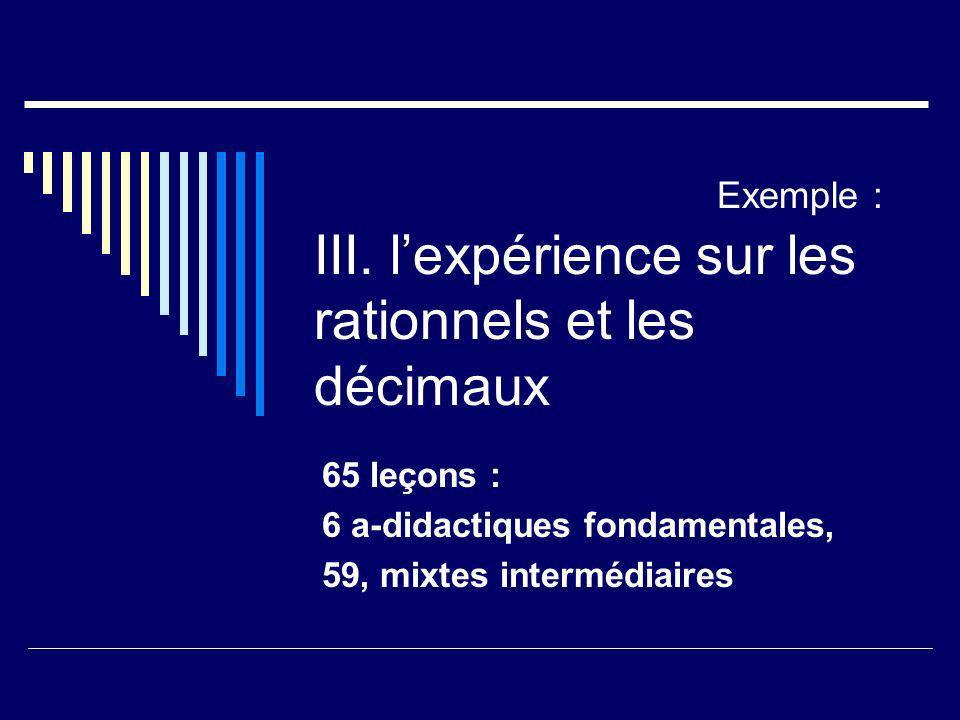 Exemple : III. lexpérience sur les rationnels et les décimaux 65 leçons : 6 a-didactiques fondamentales, 59, mixtes intermédiaires